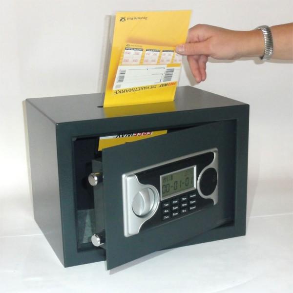 tresor m beltresor safe mit einwurfschlitz ca 21l elektr zahlenschlo ebay. Black Bedroom Furniture Sets. Home Design Ideas